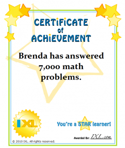 IXL Insights - Printable Certificates