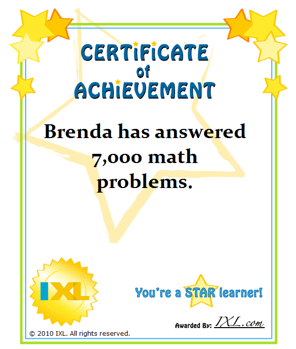 IXL Insights Printable Certificates – Printable Certificate