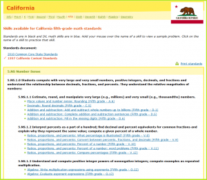 IXL Insights – State Standards Tab