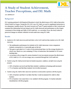 Research Study: Student Achievement and IXL Math