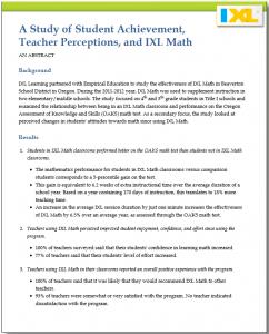 Research Study: Student Achievement and IXL Math