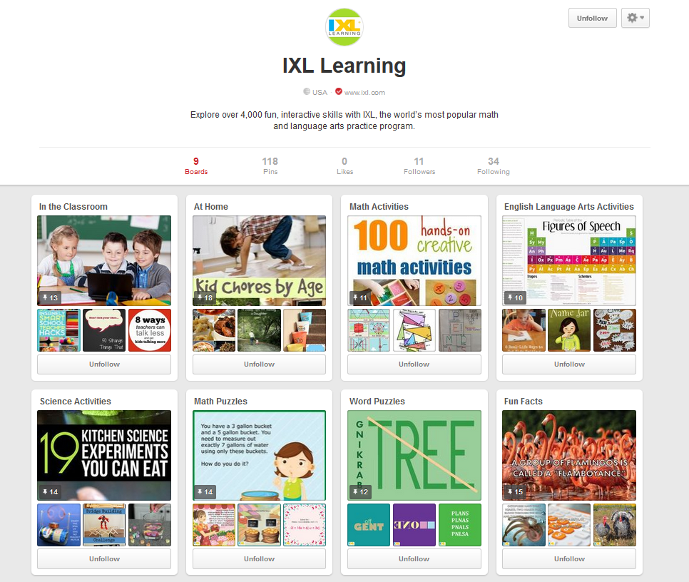 IXL is Now on Pinterest!