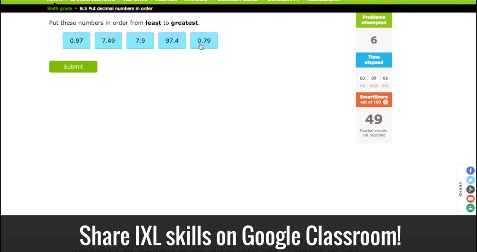 IXL Integrates with Google Classroom
