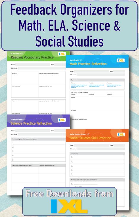 Free IXL Feedback Organizers for Math, ELA, Science & Social Studies