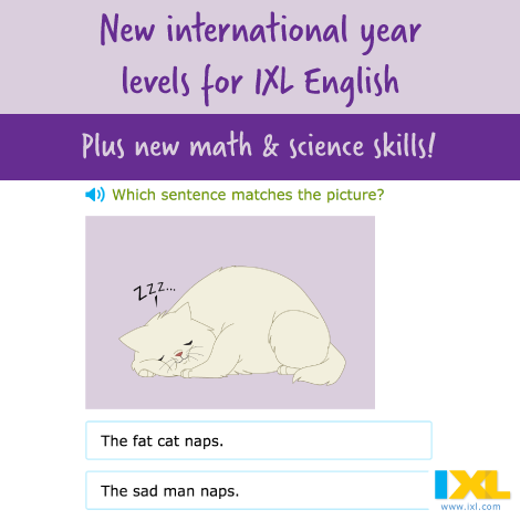 2 new international year levels for IXL English!