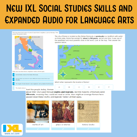 Listen up! New social studies skills and expanded audio for language arts