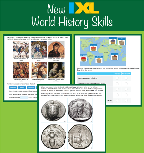 IXL Social Studies Has New World History Skills!