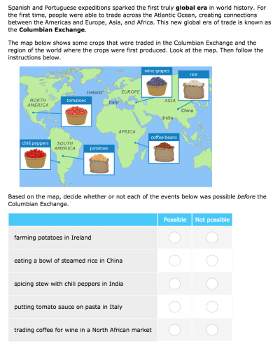 Ixl social studies has new world history skills students will discover how the columbian exchange changed the world and will also consider the effects that european expeditions had on people in the gumiabroncs Gallery