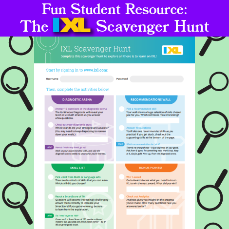 Fun Student Resource: The IXL Scavenger Hunt