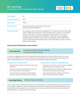 IXL Learning Information Sheet for Providence Public Schools
