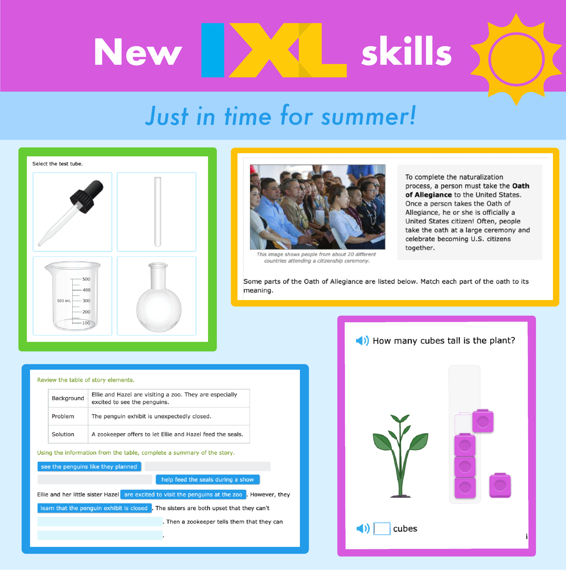 New IXL skills just in time for summer!