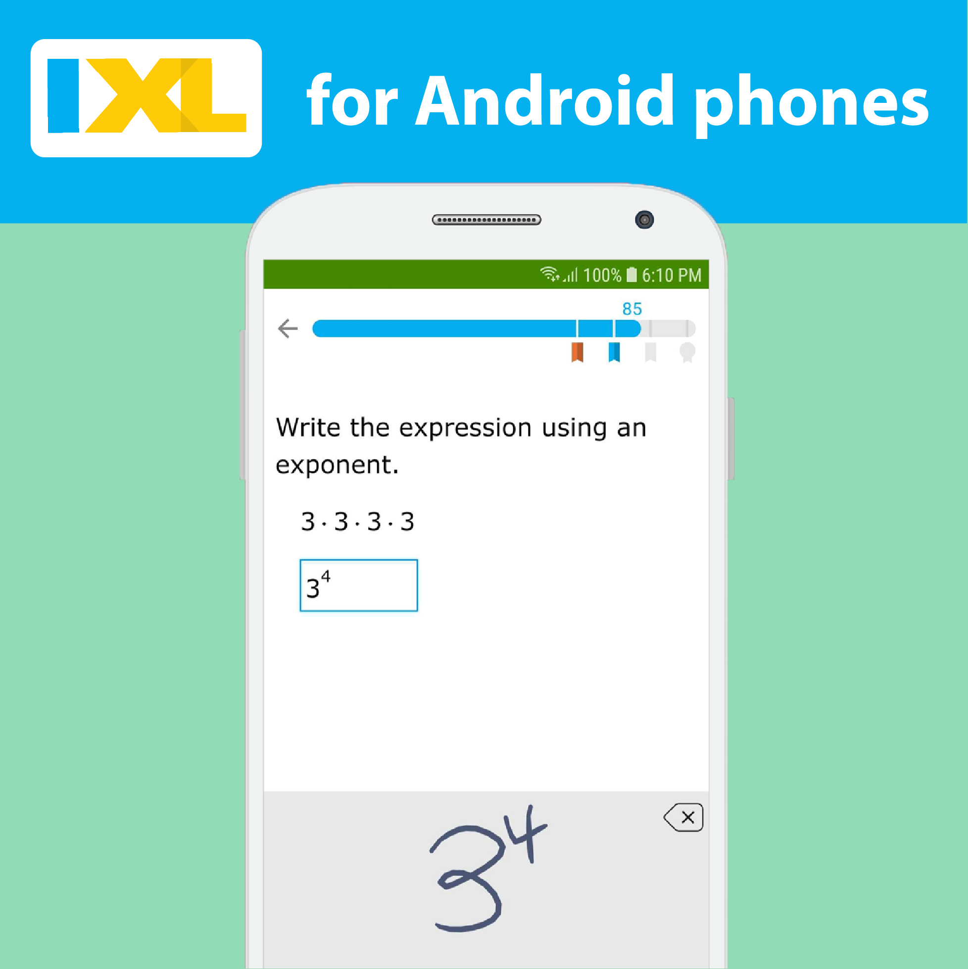 Android users rejoice! The IXL app is now available for Android phones.