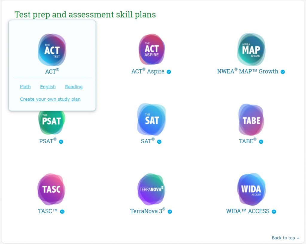 Display of available test prep skills plans