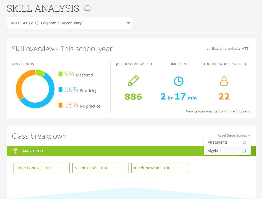 Resetting SmartScores for teachers