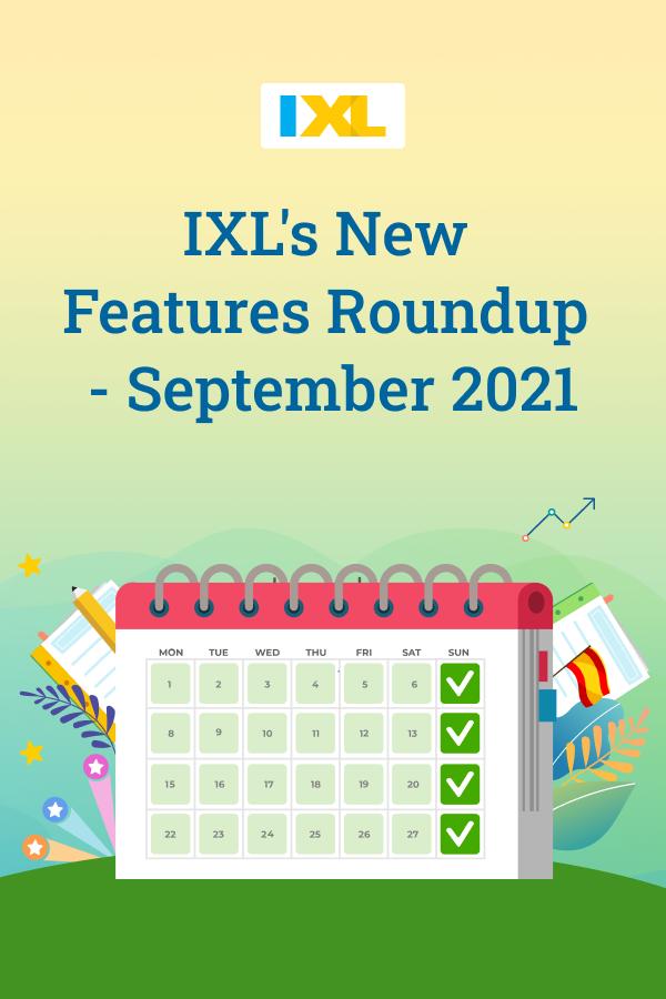 What's new on IXL - September 2021 Pinterest image
