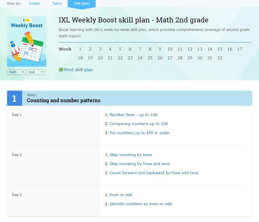 Math Weekly Boost skill plan image