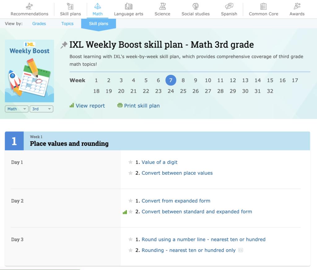 IXL-Math-Weekly-Boost-Skill-Plan
