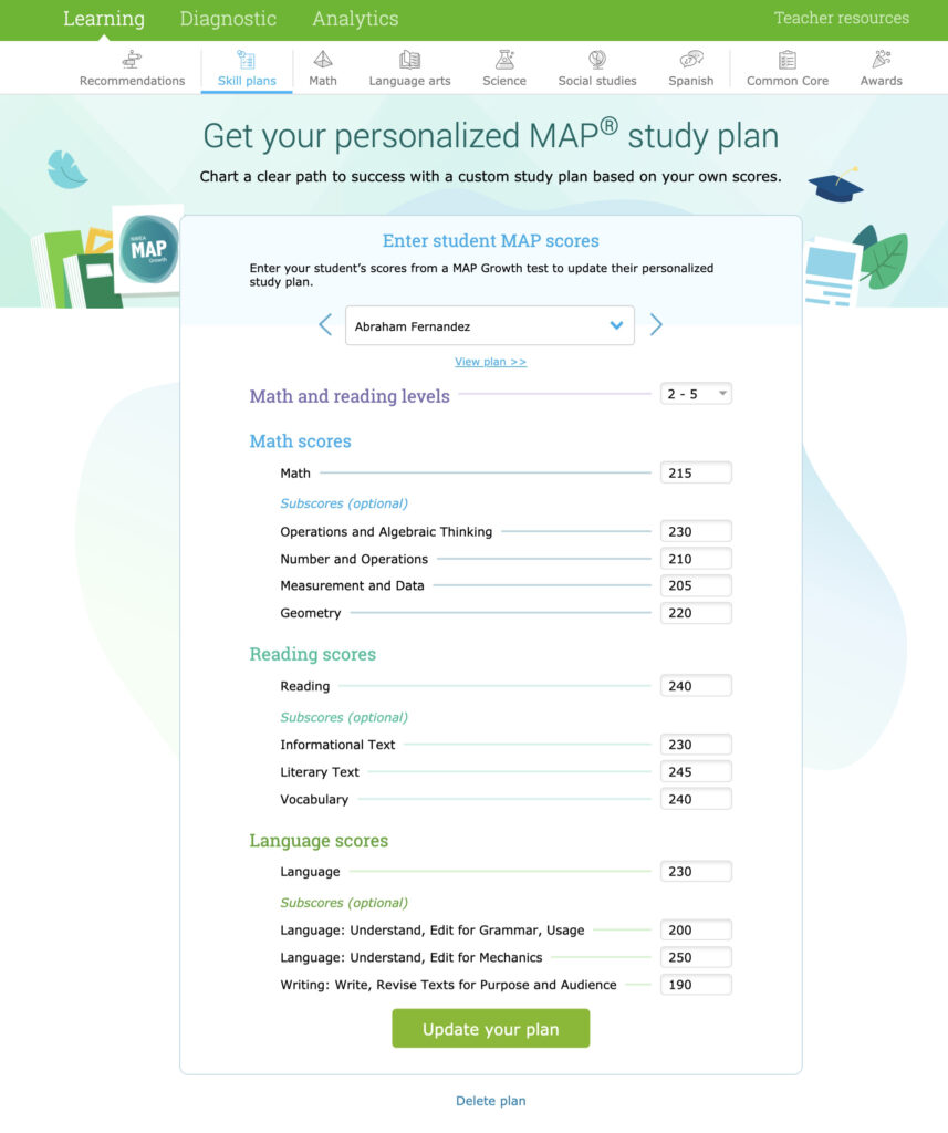 Introducing personalized MAP study plans!